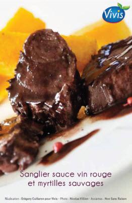 Sanglier sauce vin rouge et myrtilles sauvages
