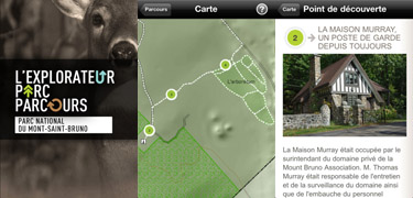 Application SEPAQ - Explorateur Parc Parcours